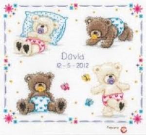 Bear Cub ABC Birth Sampler Cross Stitch Kit