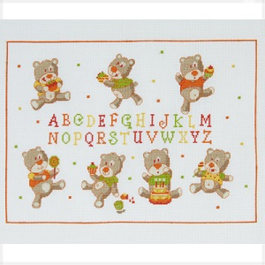 Bear Cub ABC Birth Sampler Cross Stitch Kit by DMC