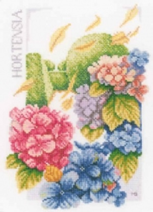 Hydrangea Power Cross Stitch Kit by Lanarte