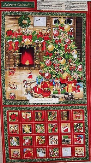 Train Under the Christmas Tree Advent Calendar Panel
