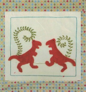 Red Dinosaur Baby Blanket Kit by Windflower Embroidery