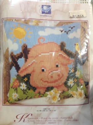 The Happy Pig Cross Stitch Cushion Kit