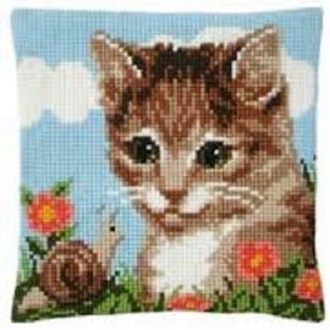 Cat and the Snail Cross Stitch Cushion Kit
