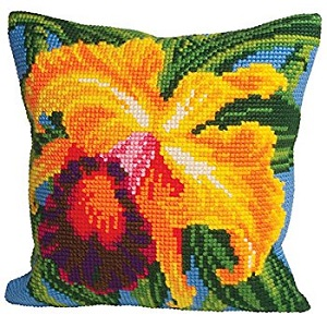 Orchidée du Paradis Cross Stitch Cushion Kit