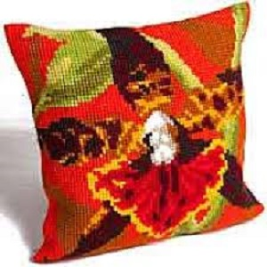Orchidee Tigre Cross Stitch Cushion Kit