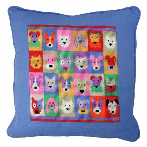 Jolly Red Pop Art Puppies Tapestry Cushion Kit
