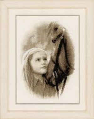 Girl and a Pony Cross Stitch Kit by Vervaco