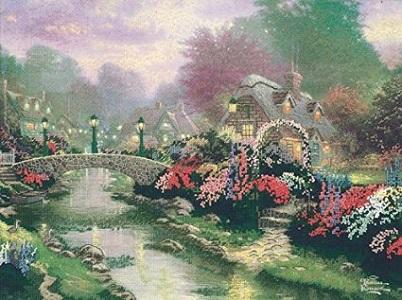 Lamplight Bridge Counted Cross Stitch Kit by Thomas Kinkade