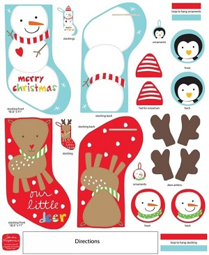Cheeky Snowman and Rudolph Christmas Stocking Panel