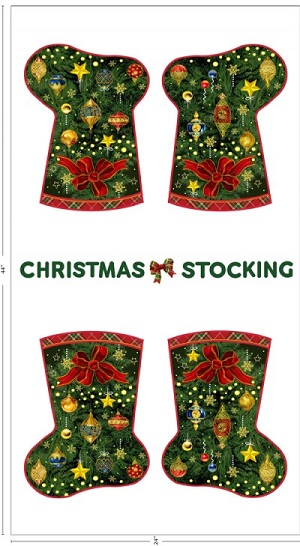 Seasons Greeting Christmas Stocking Panel