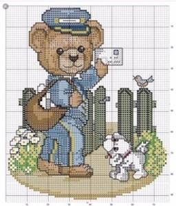 Postman Bear Cross Stitch Pattern