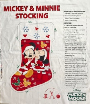 Mickey and Minnie Mouse Christmas Stocking Panel