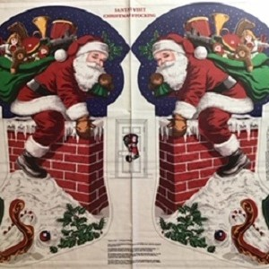 Santas Visit Christmas Stocking Panel