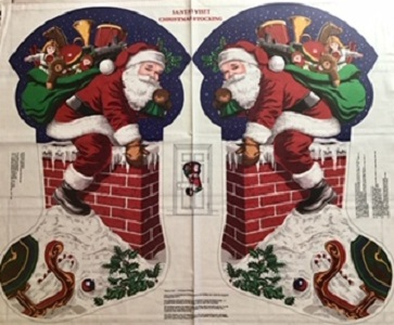 Santas Visit Christmas Stocking Panel