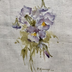 Purple Pansy Hand Painted Panel