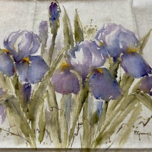 Purple Iris s Hand Painted Panel