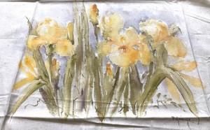 Yellow Iris Hand Painted Panel