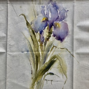 Purple Iris Hand Painted Panel