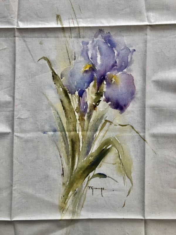 Purple Iris Hand Painted Panel