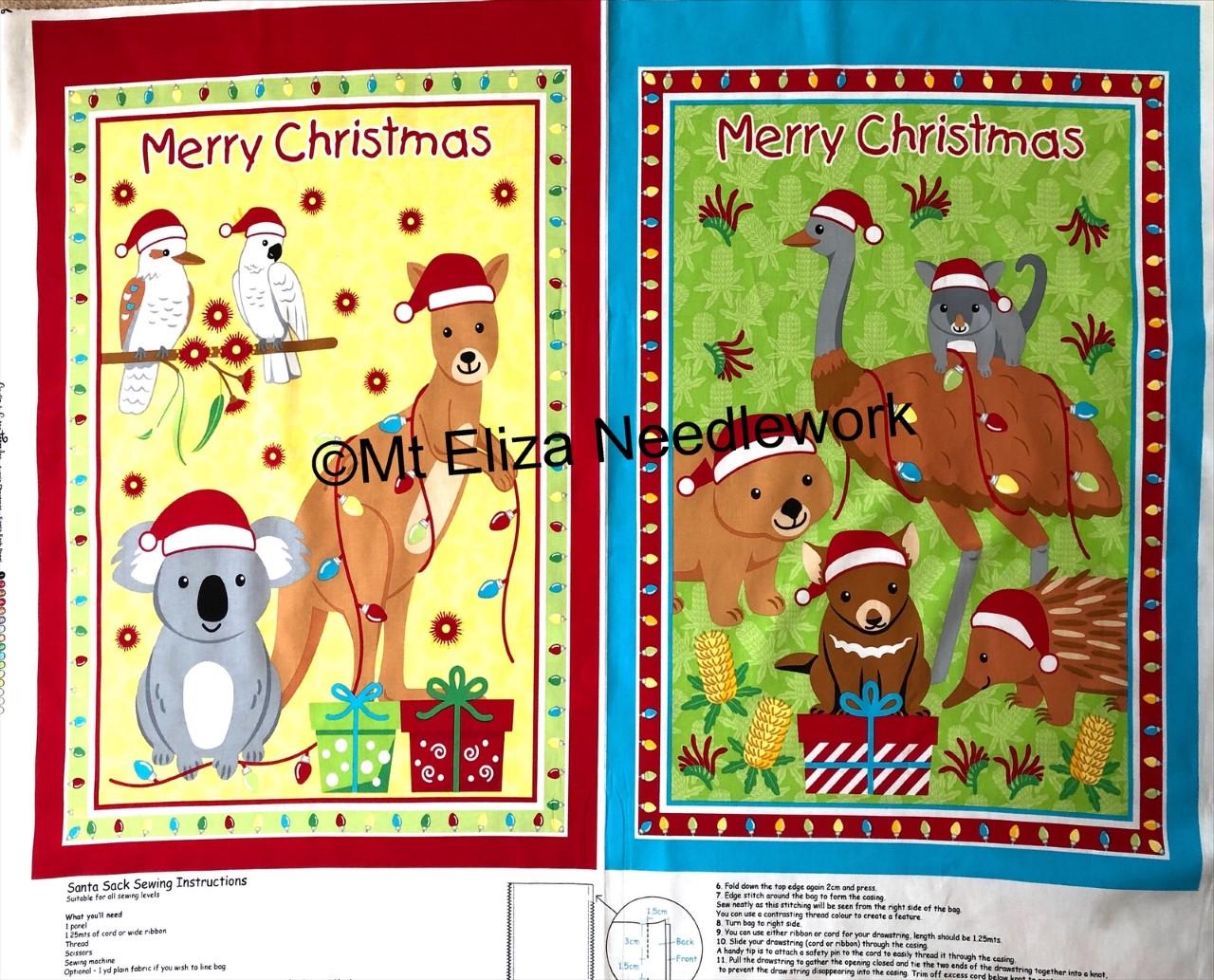 Aussie Christmas Santa Sack Panel
