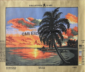 Tropical Island Sunset Tapestry