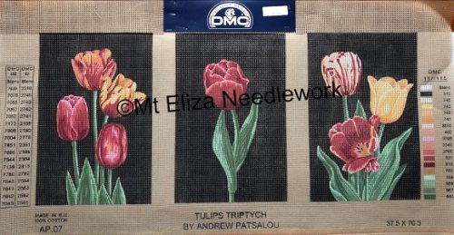 Tulips Triptych Tapestry