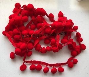 Red Pom Pom Braid